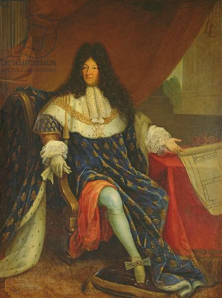 Louis XIV (1638-1715) Holding a Plan of the Maison Royale de Saint-Cyr (oil on canvas)
