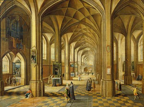 Interior of a Gothic style church with three naves (oil on canvas)
