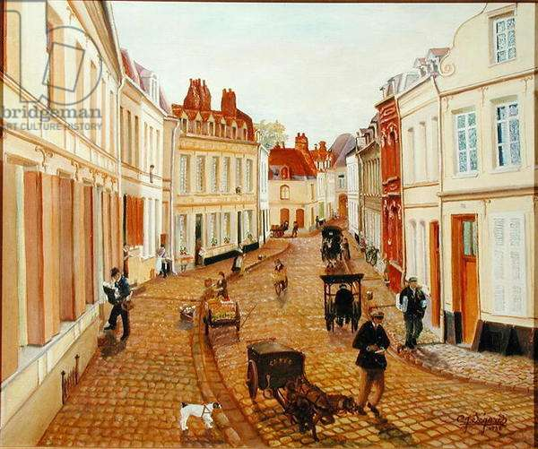 An Old Street in Cambrai, 1938 (oil on canvas)