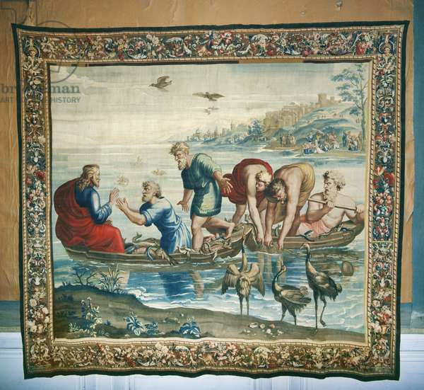 Tapestry depicting the Acts of the Apostles,  The Miraculous catch of Fish, woven at the Beauvais Workshop under the direction of Philippe Behagle (1641-1705), 1695-98 (wool tapestry)