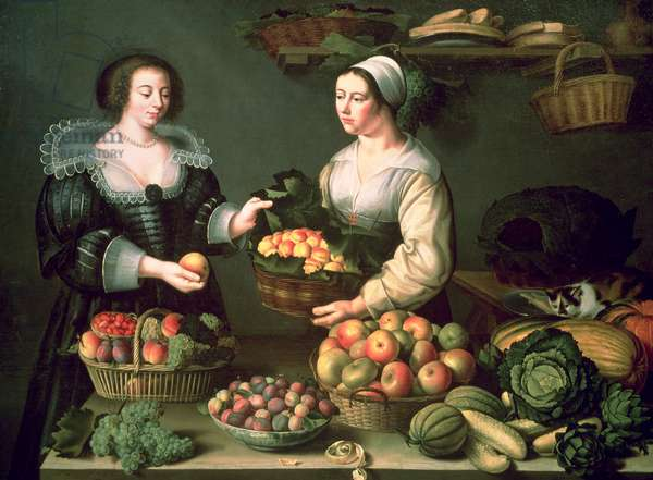 The Fruit and Vegetable Seller (oil on panel)