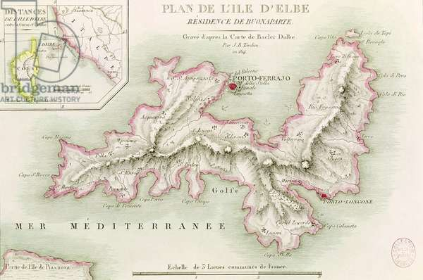 Map of the Island of Elba, engraved by Jean-Baptiste Tardieu (1768-1837) 1814 (coloured engraving)