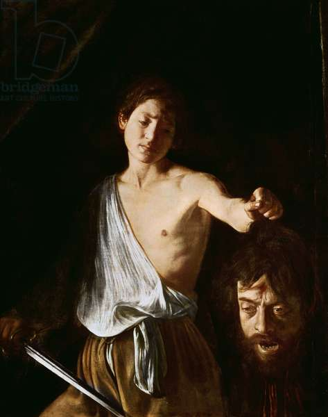 David with the Head of Goliath, 1606 (oil on canvas) (for detail see 100350)