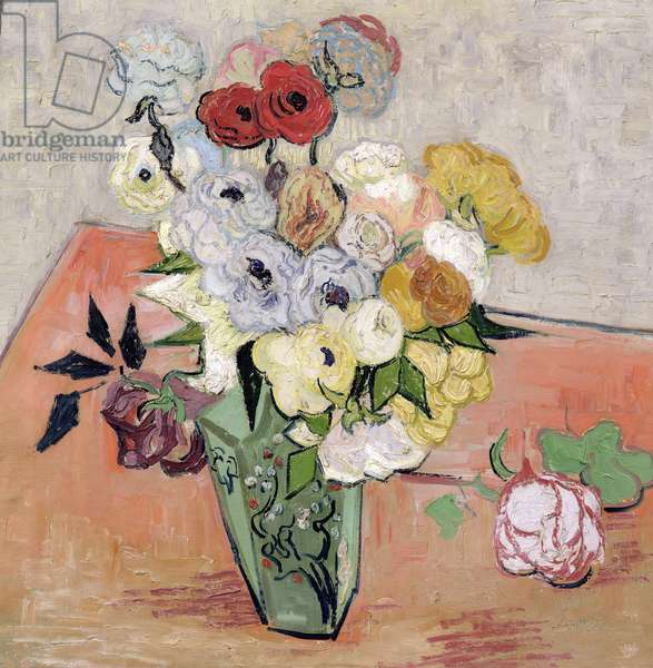 Japanese Vase with Roses and Anemones, 1890 (oil on canvas)