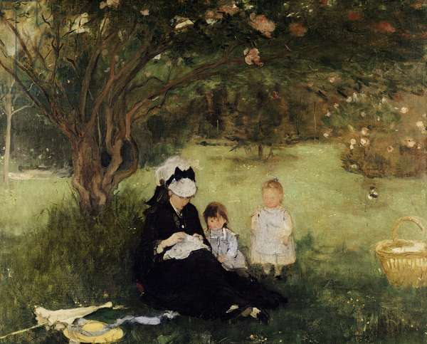 Beneath the Lilac at Maurecourt, 1874 (oil on canvas)