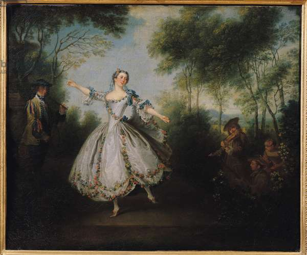 Marie-Anne Cuppi (1710-70) known as La Camargo, dancing, 1730 (oil on canvas)