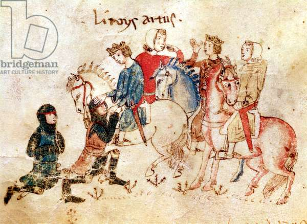 The Knights Esclabor and Arphasar Offer their Services to King Arthur, from the Roman de Meliadus (vellum)
