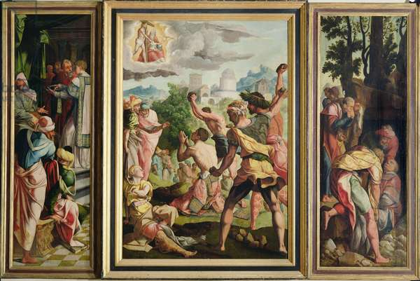 The Sermon, Stoning and Entombment of St. Stephen, from the Polyptych of St. Stephen and St. James the Greater, c.1541 (oil on panel)