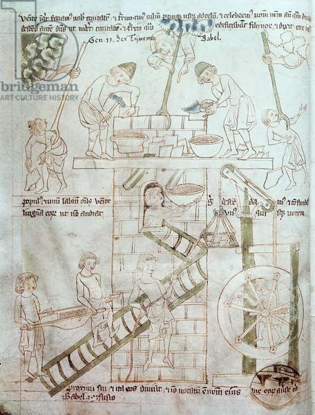 Ms 23 C 124 fol.3 The Construction of the Tower of Babel, from the Velislav Bible, c.1340 (vellum)