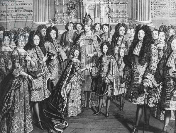 Marriage of Louis de France (1682-1712), duke of Bourgogne with Marie Adelaide de Savoie (1685-1712) in the Royal Chapel of Versailles, December 1694, in the presence of the King Louis XIV (engraving) (b/w photo)