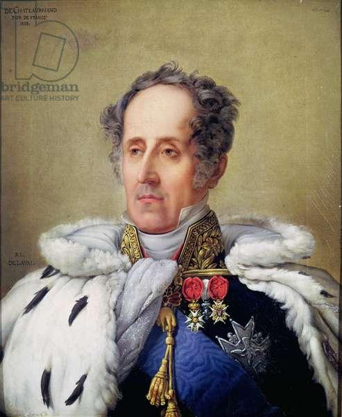 Portrait of Francois Rene (1768-1848) Vicomte de Chateaubriand, 1828 (oil on canvas)