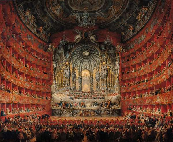Concert given by Cardinal de La Rochefoucauld at the Argentina Theatre in Rome, on the Marriage of Louis the Dauphin (1729-65) son of Louis XV, to Marie-Josephe of Saxony (1731-67), 1747 (oil on canvas)