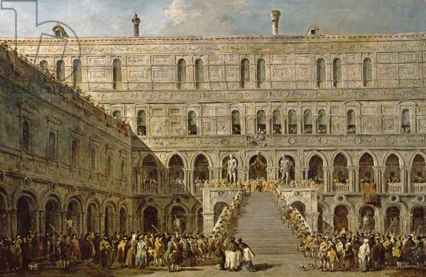 The Coronation of the Doge of Venice on the Scala dei Giganti of the Palazzo Ducale, 1766-70 (oil on canvas)