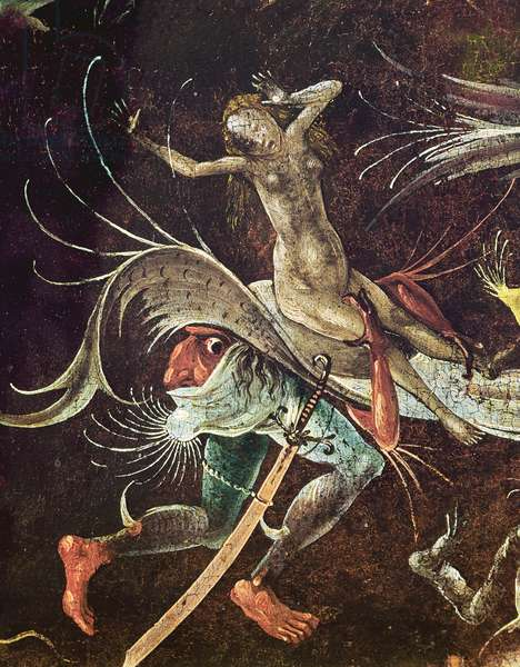 The Last Judgement, detail of a Woman being Carried Along by a Demon, c.1504 (oil on panel)