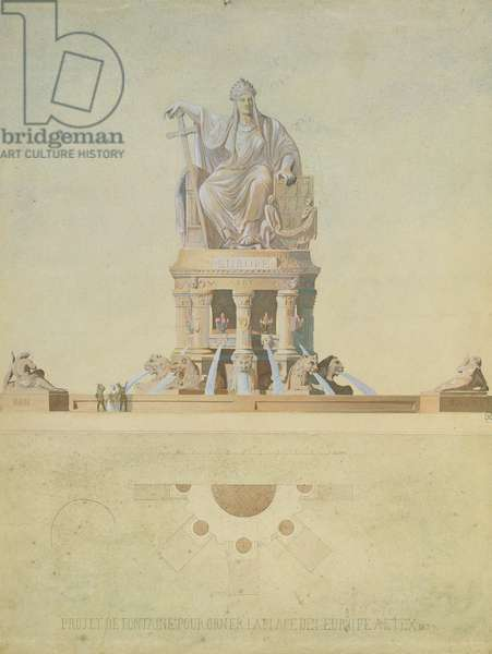 Project for the monument destined for the Place de l'Europe, 1839 (pencil & w/c on paper)