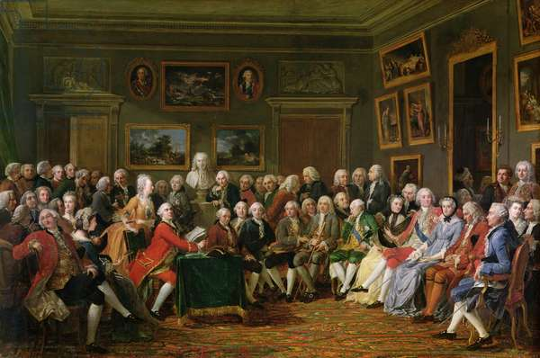 The First Reading at Mme Geoffrin's of Voltaire's Tragedy 'L'Orphelin de la Chine', 1755 (oil on canvas)