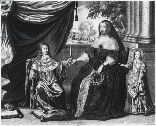 Anne of Austria, Queen of France and Navarre, and her sons, Dauphin Louis of France, future Louis XIV, and Philippe I, Duke of Orleans, 1643 (engraving)
