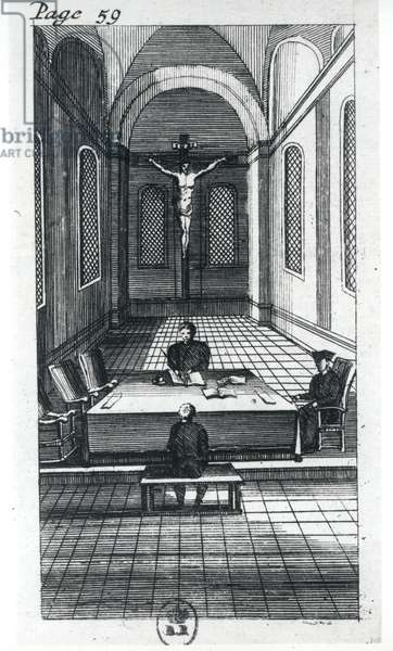 Inquisition Interrogation (engraving) (b/w photo)
