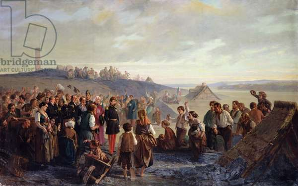 Napoleon III visiting the slate quarries of Angers, 1856 (oil on canvas)