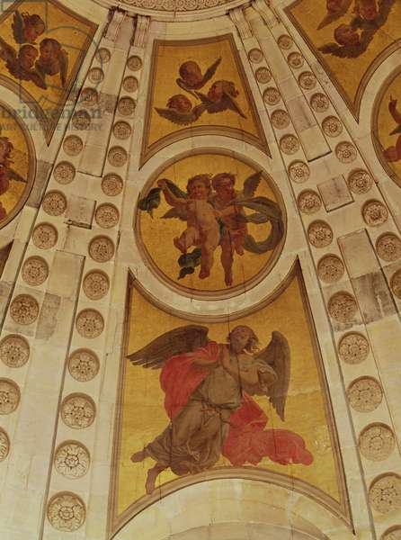 Detail of angels from the dome, built 1635-42 (wall painting) (detail of 221335)