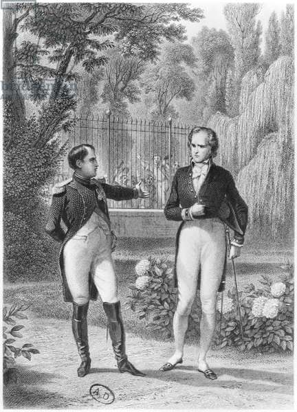 Meeting Between Napoleon I (1769-1821) and Benjamin Constant de Rebecque (1767-1830) from 'Memoires d'Outre-Tombe' by Francois Rene (1768-1848) Viscount of Chateaubriand, engraved by Jean Charles Pardinel (1808-71) (engraving) (b/w photo)