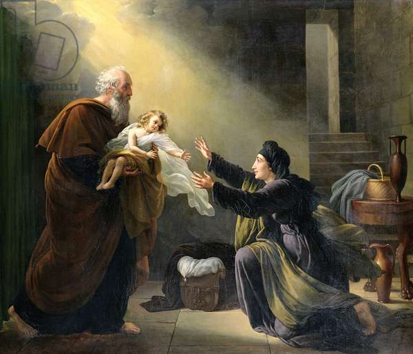 Elijah Resuscitating the Son of the Widow of Sarepta (oil on canvas)