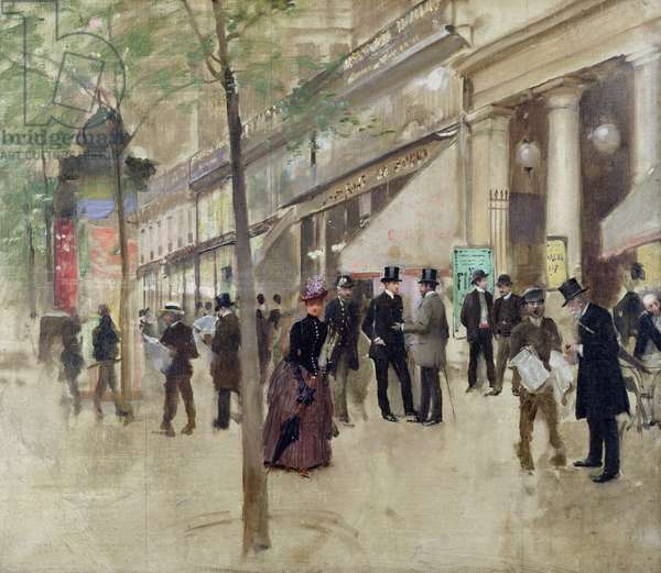 The Boulevard Montmartre and the Theatre des Varietes, c.1886 (oil on canvas)