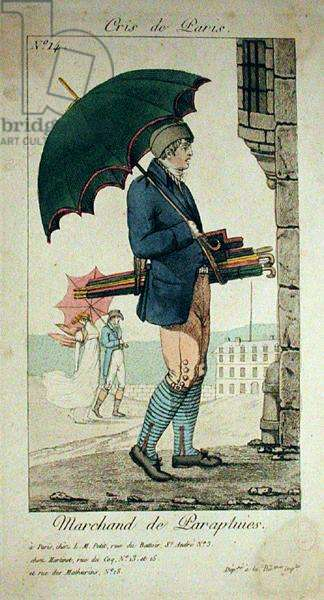 The Umbrella Seller, number 14 from 'The Cries of Paris' series (coloured engraving)