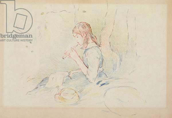 The Flageolet Player, 1890 (colour pencil on paper)