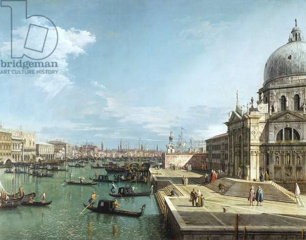 The Entrance to the Grand Canal and the church of Santa Maria della Salute, Venice (oil on canvas)