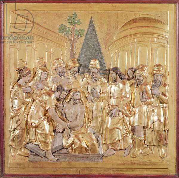 Altarpiece depicting the Resurrection of Lazarus (gilded wood)