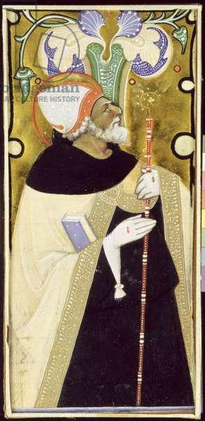 Historiated initial 'I' depicting St. Augustine (vellum)