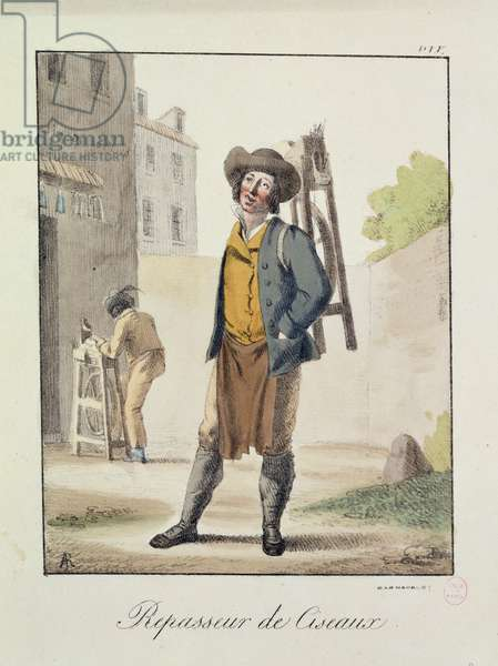 The Knife Grinder (coloured engraving)