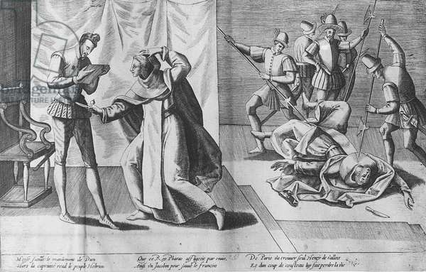 Henry III of France assassinated by Jacques Clement, 1st August 1589 (engraving)