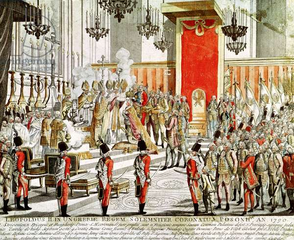 The Coronation of Leopold II (1747-92) at Bratislava in 1790 (coloured engraving)