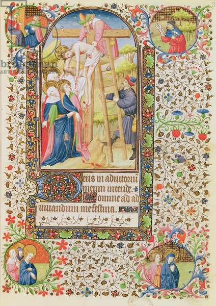 Ms 547 fol.32 The Descent from the Cross, from a Book of Hours used by a woman from Poitiers (vellum)