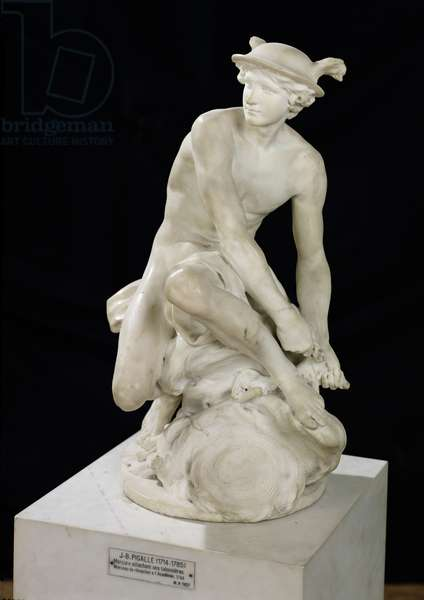 Mercury Attaching his Winged Sandals, 1744 (marble)