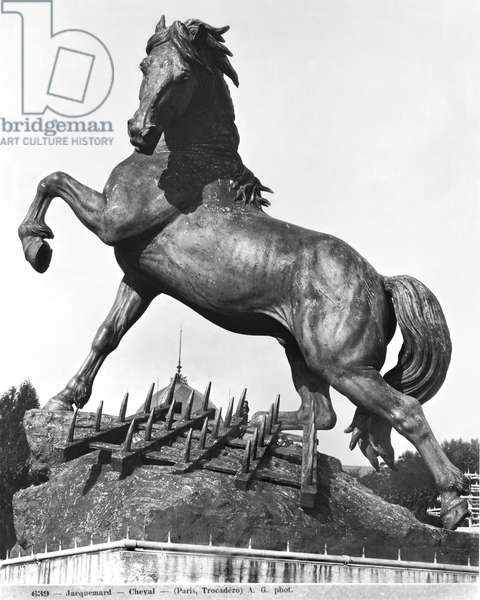Horse with a harrow, in front of the first Palace of Trocadero constructed for the Universal Exhibition in 1878, 1878 (bronze) (b/w photo)