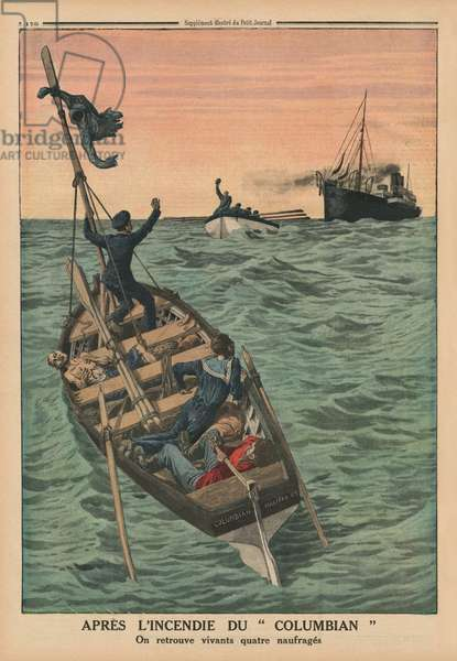 After the fire of the Columbian, four shipwrecked persons are found alive, back cover illustration from 'Le Petit Journal', supplement illustre, 31st May 1914 (colour litho)