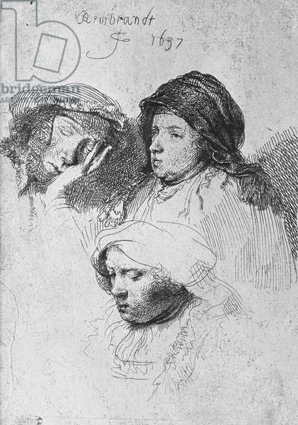 Three female heads with one sleeping, 1637 (etching) (b/w photo)