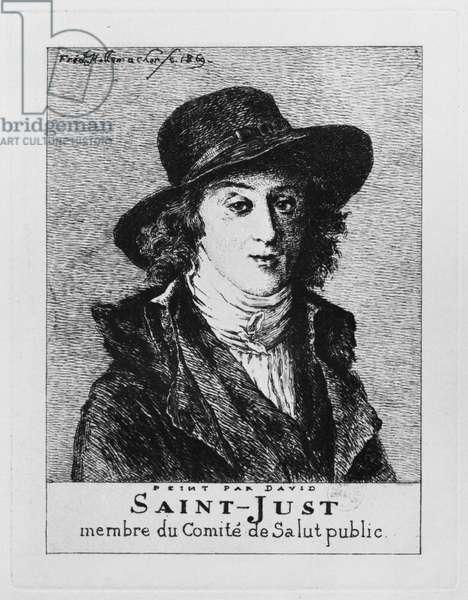 Louis Antoine Leon de Saint-Just, engraved by Frederic Desire Hillemacher (1811-86) 1869 (engraving)