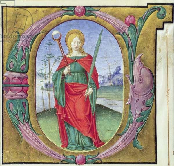 Historiated initial 'G' depicting St. Agatha (vellum)