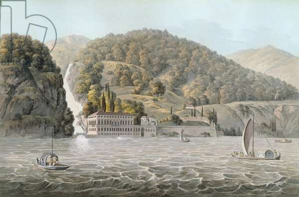 Villa Pliniana, Lake Como, 1803 (coloured engraving)
