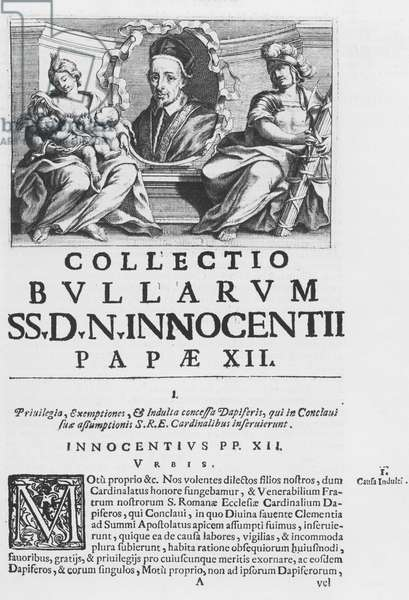 Collection of the Papal Bulls of Pope Innocent XII (engraving)