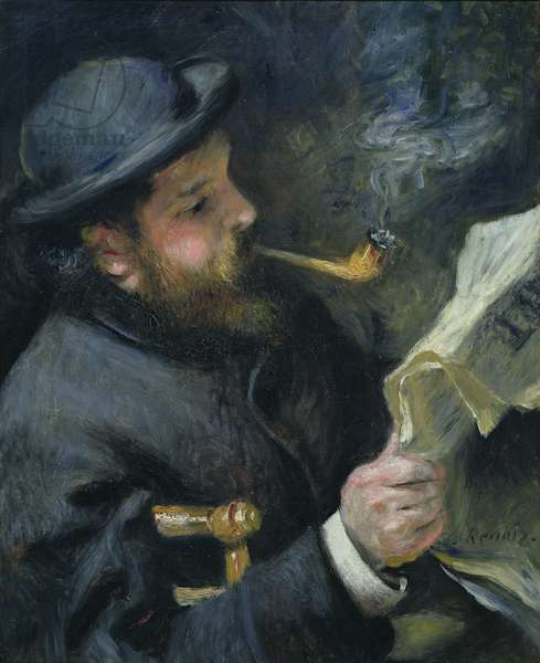 Claude Monet (1840-1926) reading a newspaper, 1872 (oil on canvas)