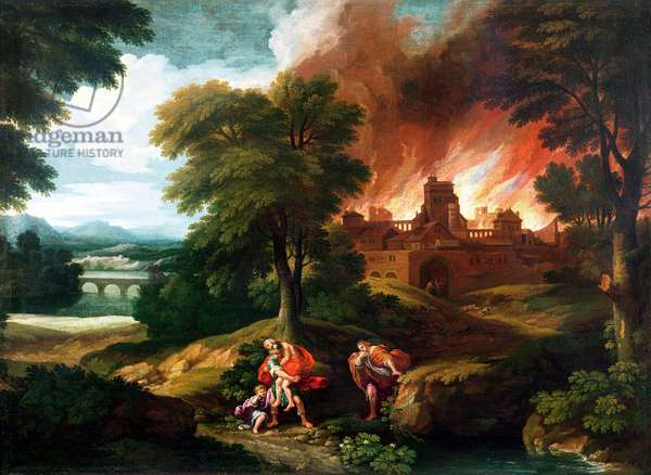 The Burning of Troy (oil on canvas)