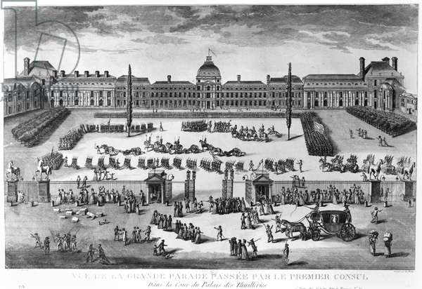 Napoleon Bonaparte (1769-1821) First Consul, Reviewing his Troops in the courtyard of the Tuileries Palace, engraved by Pierre Adrien Le Beau (b.1748) (engraving) (b/w photo)