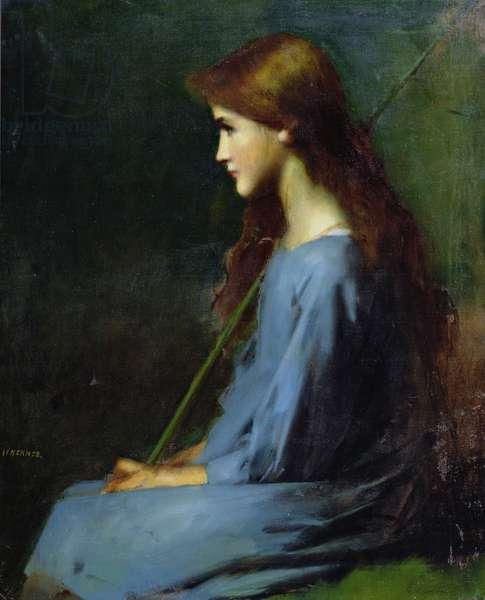 Little shepherdess, 19th century, (oil on canvas)