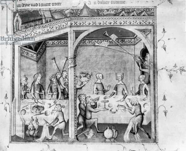 Ms Fr 1584 Musicians entertaining at a banquet, c.1370 (manuscript) (b/w photo)