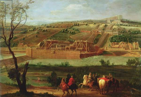 View of the Marly Machine and the Aqueduct at Louveciennes, 1722 (oil on canvas)